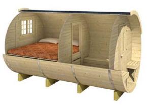 Chalet en bois, tonneau bureau de jardin, 3D (2), Tuindeco