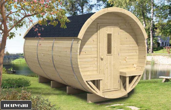 Chalet en bois tonneau bureau de jardin tuindeco lhv lhv